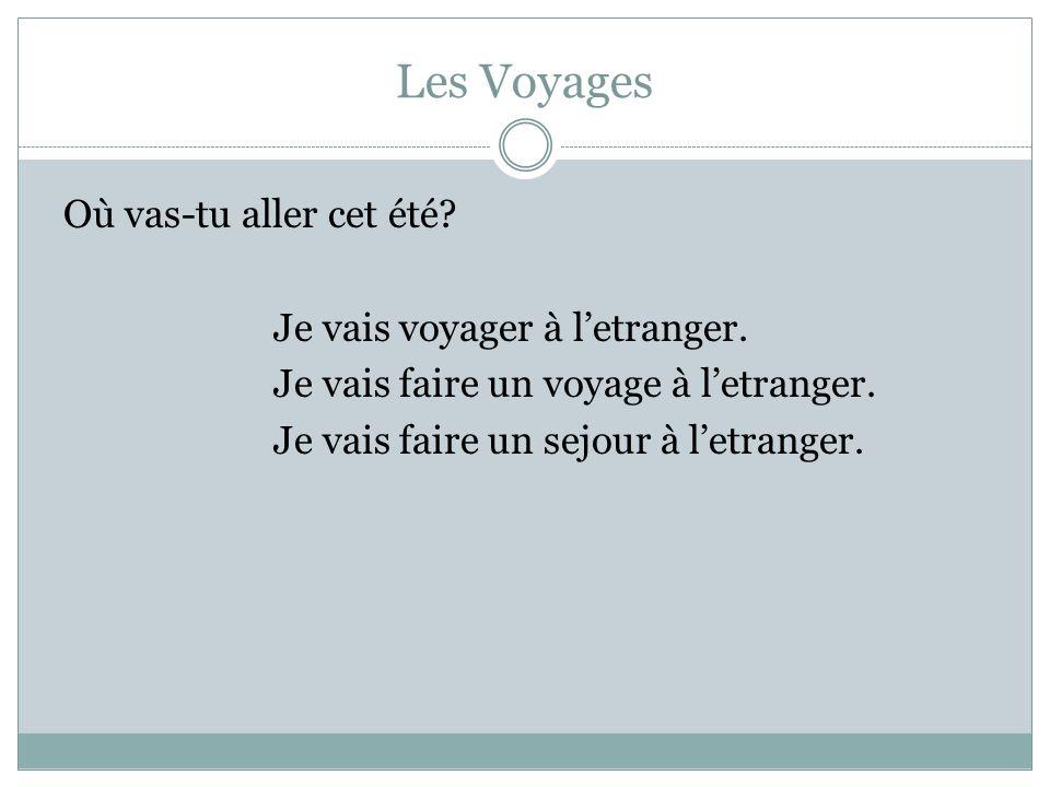 Les Voyages Où vas-tu aller cet été.Je vais voyager à letranger.