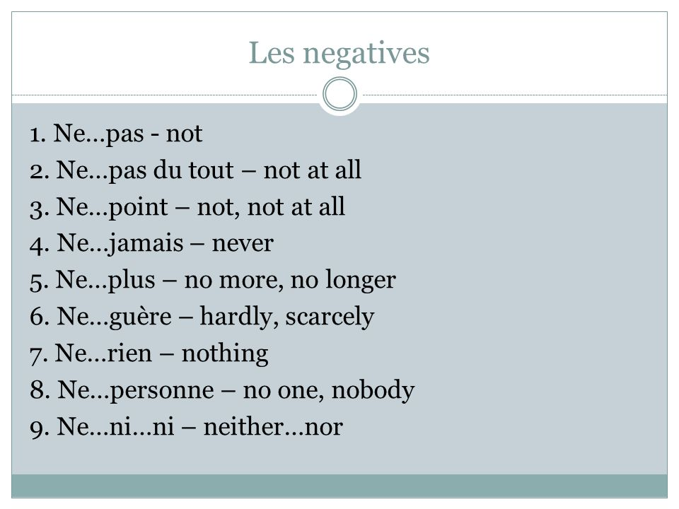 In spoken French, the ne can be dropped from negative expressions: WRITTEN FRENCH Je ne sais pas. SPOKEN FRENCH Je sais pas.