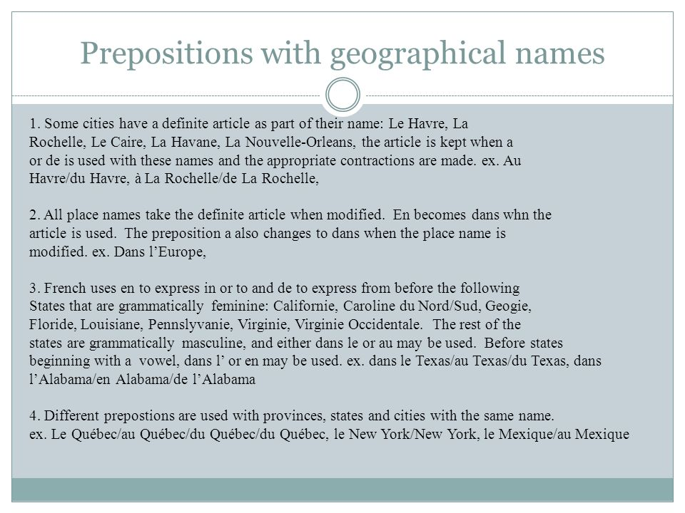 Prepositions with geographical names 1.