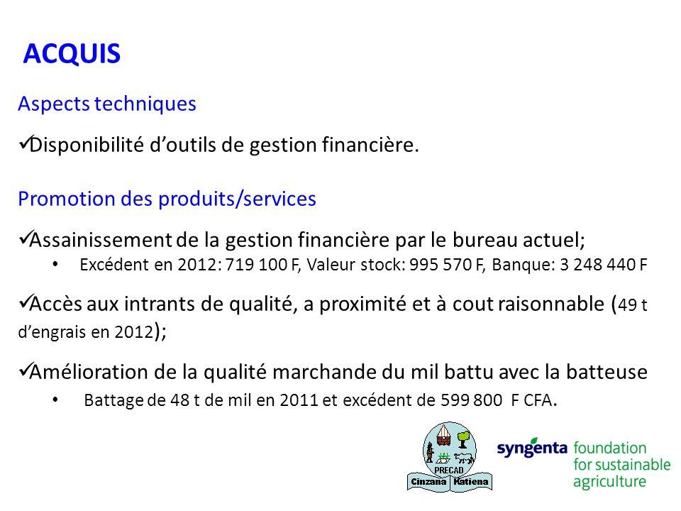 Aspects techniques Disponibilité doutils de gestion financière. Promotion des produits/services Assainissement de la gestion financière par le bureau