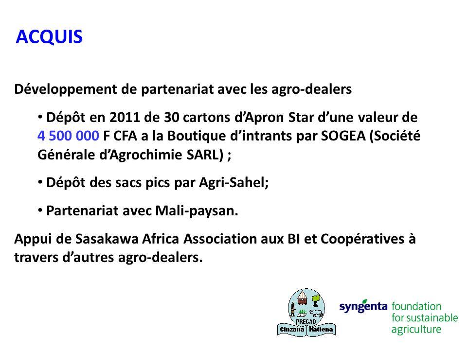 Développement de partenariat avec les agro-dealers Dépôt en 2011 de 30 cartons dApron Star dune valeur de 4 500 000 F CFA a la Boutique dintrants par
