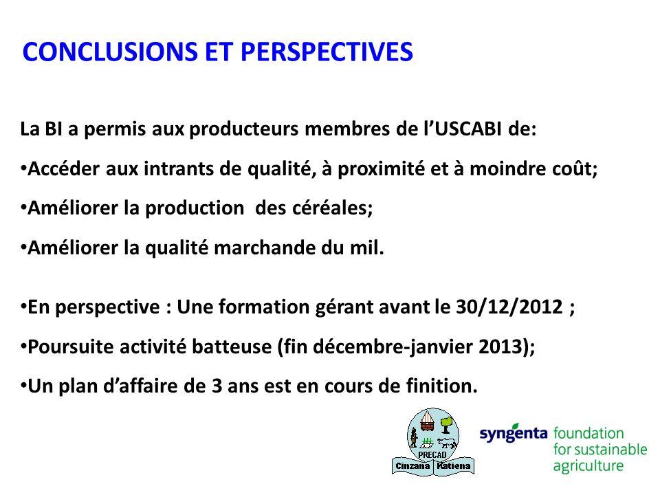 La BI a permis aux producteurs membres de lUSCABI de: Accéder aux intrants de qualité, à proximité et à moindre coût; Améliorer la production des céré