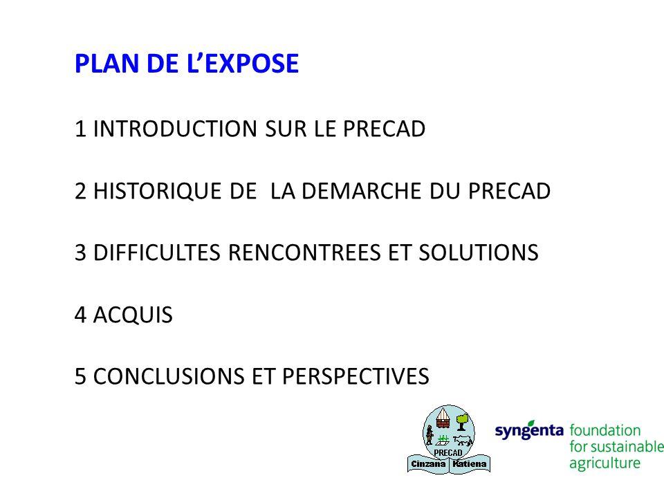 1 INTRODUCTION SUR LE PRECAD 2 HISTORIQUE DE LA DEMARCHE DU PRECAD 3 DIFFICULTES RENCONTREES ET SOLUTIONS 4 ACQUIS 5 CONCLUSIONS ET PERSPECTIVES PLAN