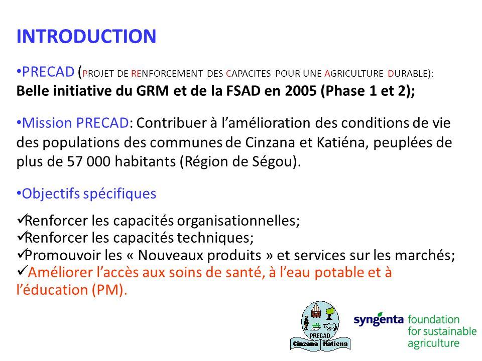 INTRODUCTION PRECAD ( PROJET DE RENFORCEMENT DES CAPACITES POUR UNE AGRICULTURE DURABLE): Belle initiative du GRM et de la FSAD en 2005 (Phase 1 et 2)