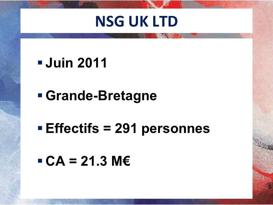 NSG UK LTD Juin 2011 Grande-Bretagne Effectifs = 291 personnes CA = 21.3 M