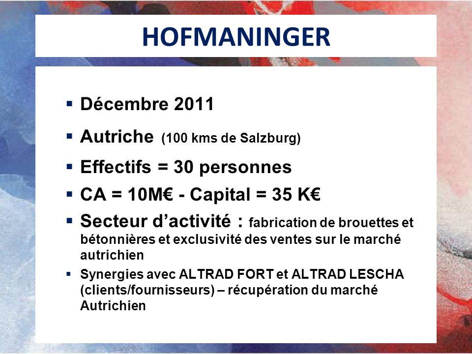 HOFMANINGER Décembre 2011 Autriche (100 kms de Salzburg) Effectifs = 30 personnes CA = 10M - Capital = 35 K Secteur dactivité : fabrication de brouettes et bétonnières et exclusivité des ventes sur le marché autrichien Synergies avec ALTRAD FORT et ALTRAD LESCHA (clients/fournisseurs) – récupération du marché Autrichien