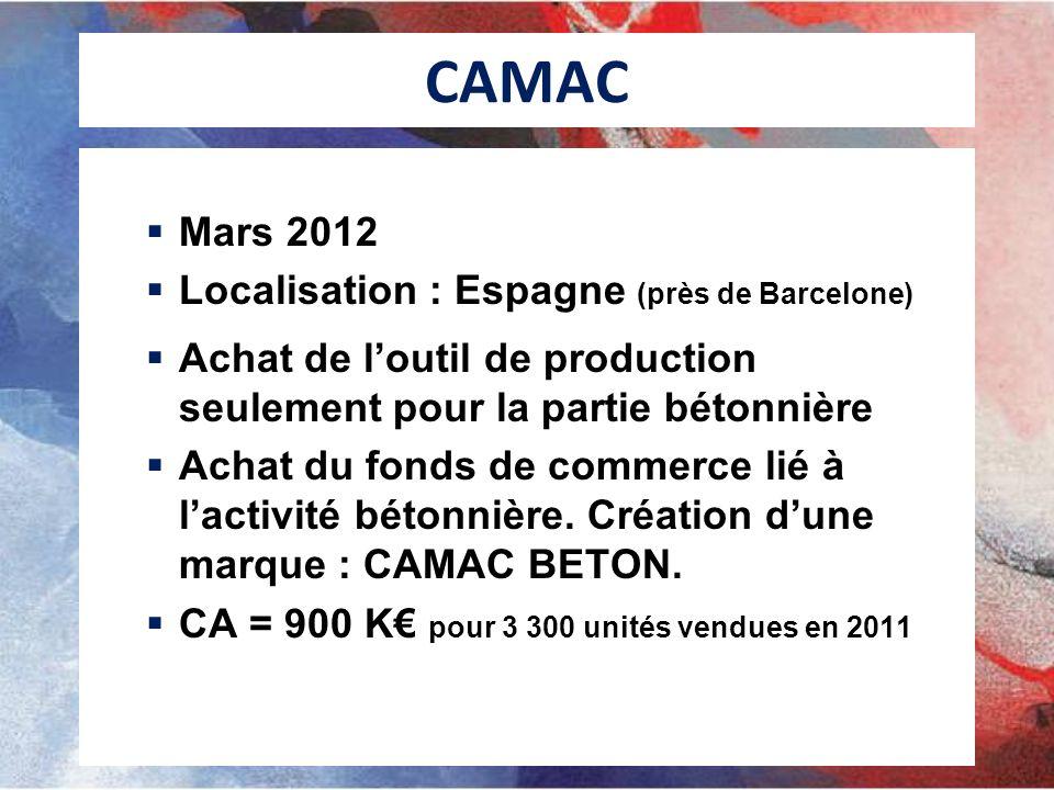 CAMAC Mars 2012 Localisation : Espagne (près de Barcelone) Achat de loutil de production seulement pour la partie bétonnière Achat du fonds de commerc