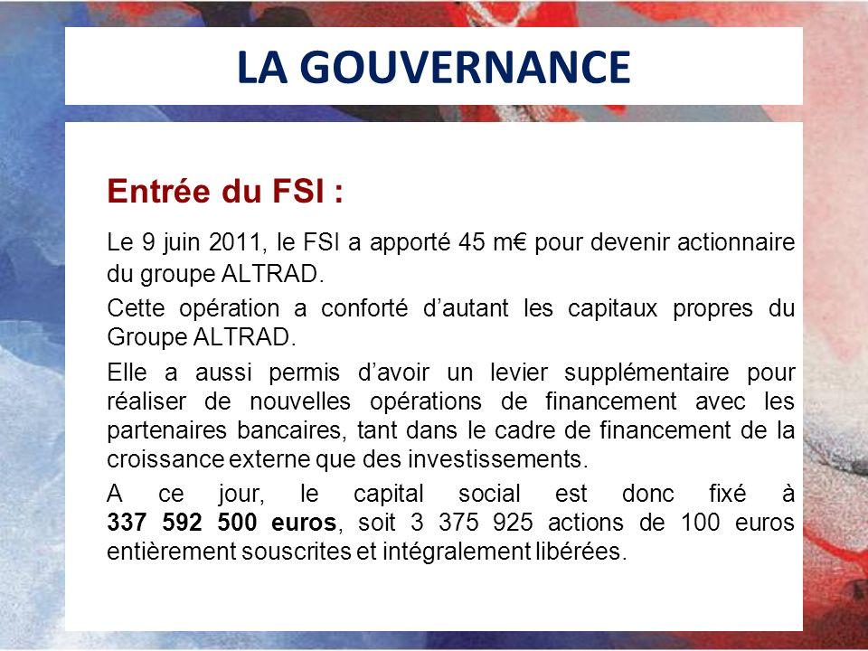 LA GOUVERNANCE Entrée du FSI : Le 9 juin 2011, le FSI a apporté 45 m pour devenir actionnaire du groupe ALTRAD. Cette opération a conforté dautant les
