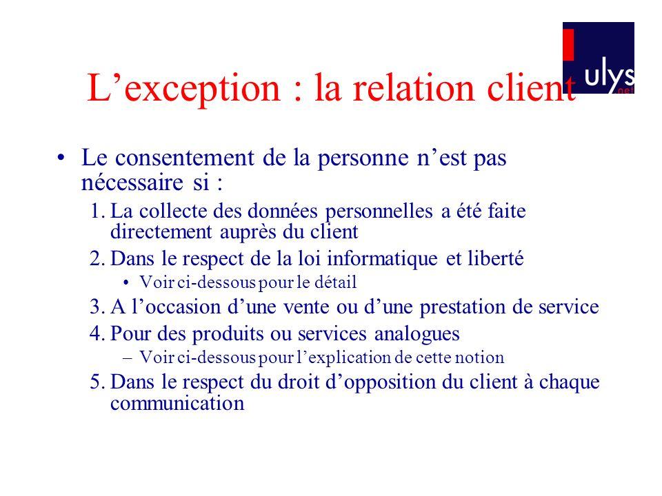 Lexception : la relation client Le consentement de la personne nest pas nécessaire si : 1.La collecte des données personnelles a été faite directement
