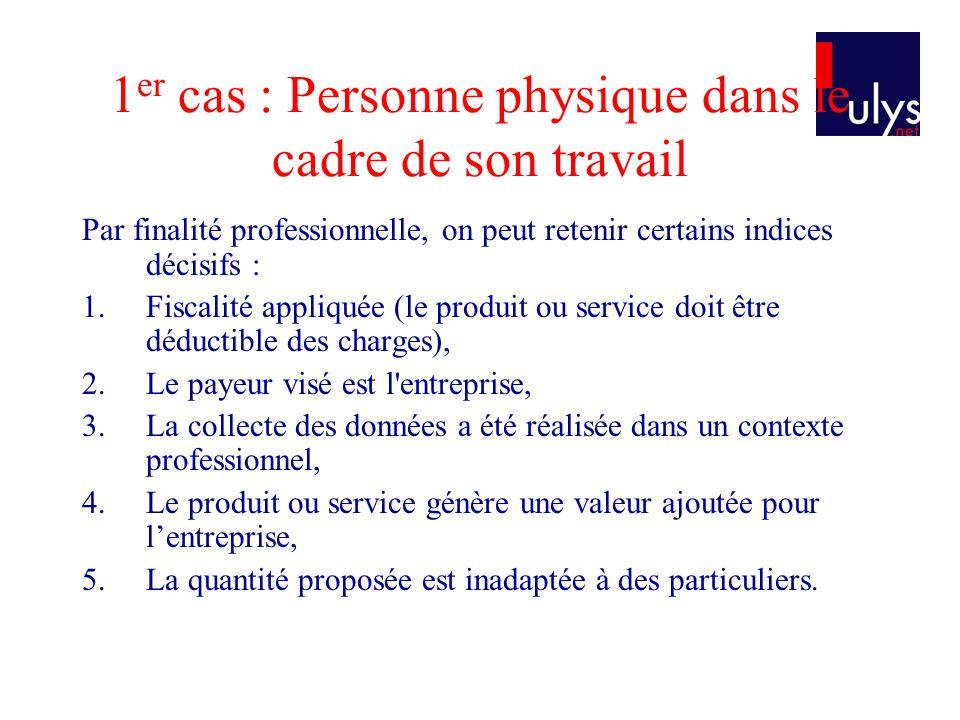 1 er cas : Personne physique dans le cadre de son travail Par finalité professionnelle, on peut retenir certains indices décisifs : 1.Fiscalité appliq