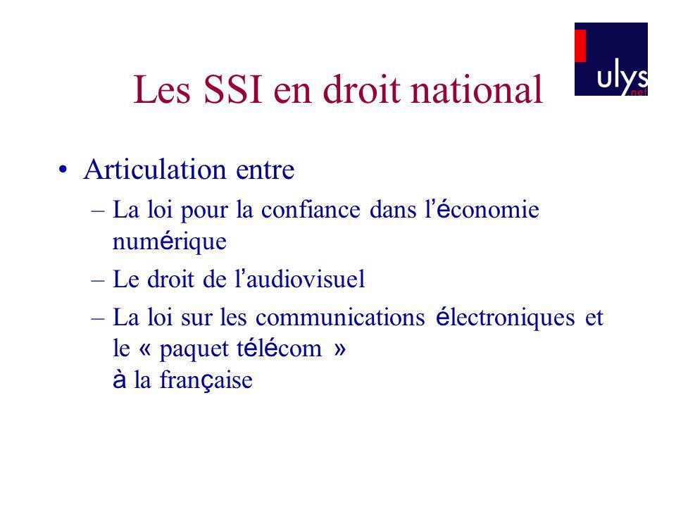 Les SSI en droit national Articulation entre –La loi pour la confiance dans l é conomie num é rique –Le droit de l audiovisuel –La loi sur les communi