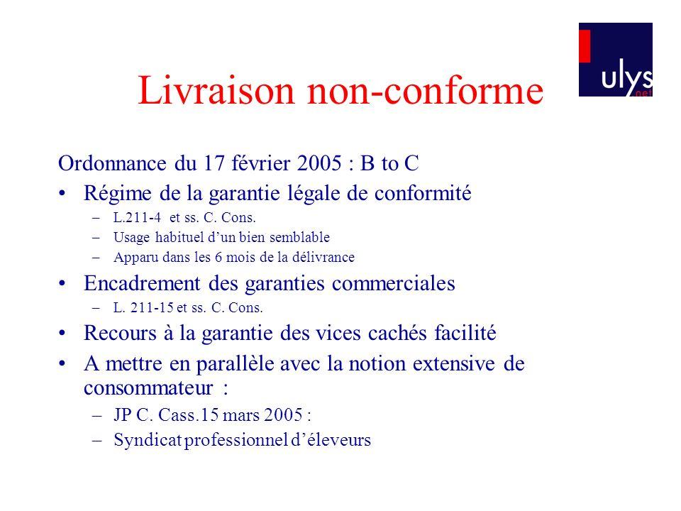 Livraison non-conforme Ordonnance du 17 février 2005 : B to C Régime de la garantie légale de conformité –L.211-4 et ss. C. Cons. –Usage habituel dun