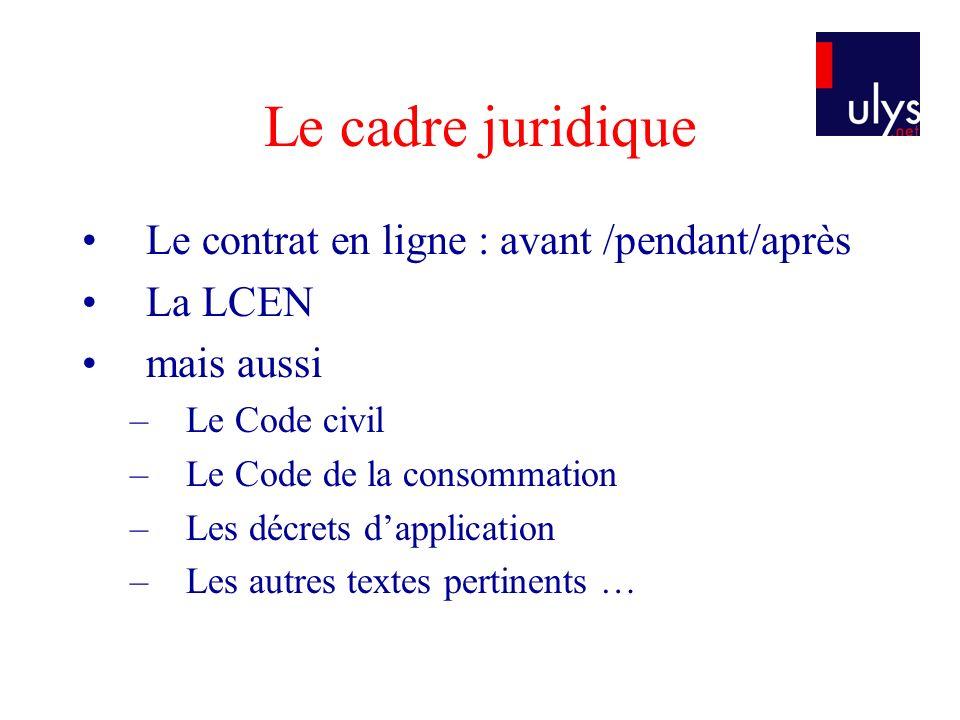 Le cadre juridique Le contrat en ligne : avant /pendant/après La LCEN mais aussi –Le Code civil –Le Code de la consommation –Les décrets dapplication