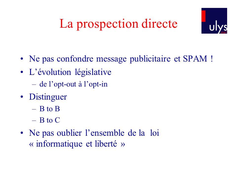 La prospection directe Ne pas confondre message publicitaire et SPAM ! Lévolution législative –de lopt-out à lopt-in Distinguer –B to B –B to C Ne pas