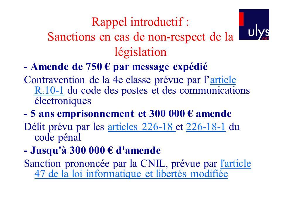 Rappel introductif : Sanctions en cas de non-respect de la législation - Amende de 750 par message expédié Contravention de la 4e classe prévue par la