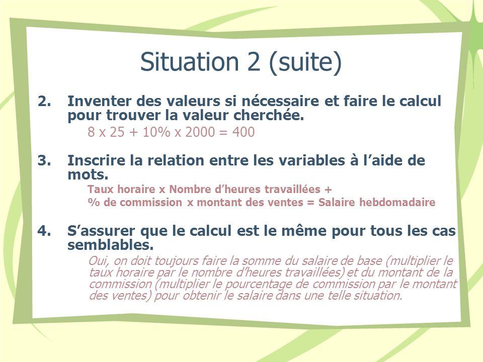 Situation 2 (suite) 2.Inventer des valeurs si nécessaire et faire le calcul pour trouver la valeur cherchée. 8 x 25 + 10% x 2000 = 400 3.Inscrire la r