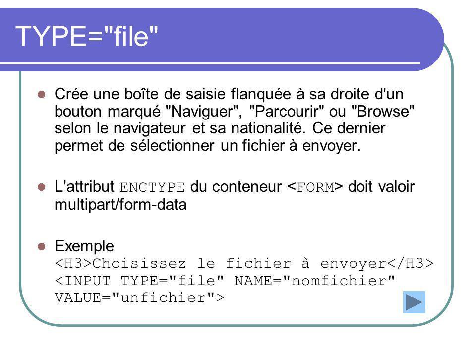 TYPE= file Crée une boîte de saisie flanquée à sa droite d un bouton marqué Naviguer , Parcourir ou Browse selon le navigateur et sa nationalité.