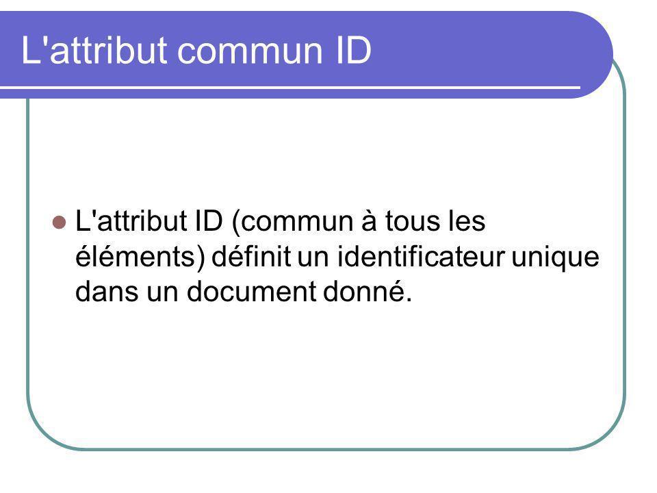 L attribut commun ID L attribut ID (commun à tous les éléments) définit un identificateur unique dans un document donné.