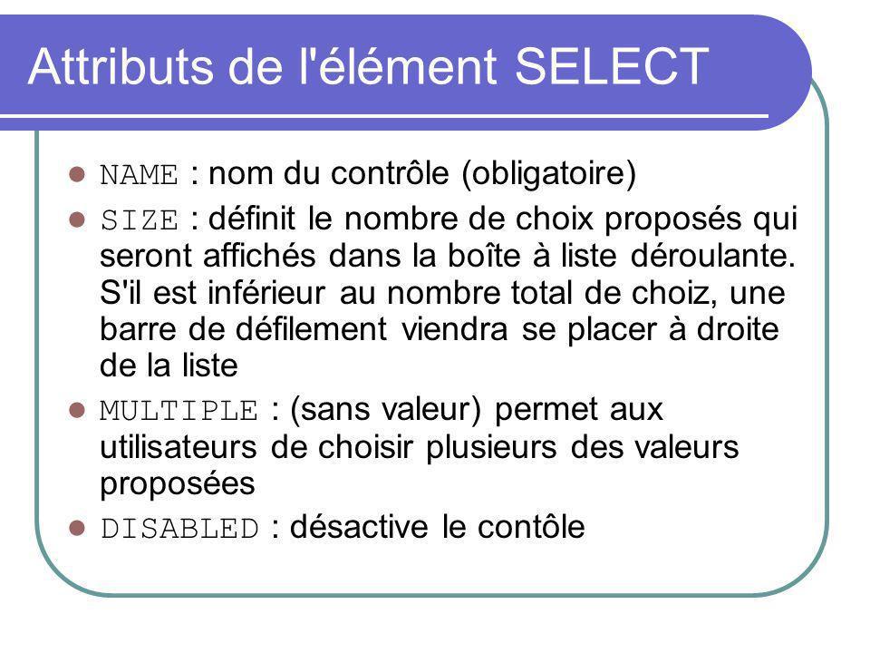 Attributs de l'élément SELECT NAME : nom du contrôle (obligatoire) SIZE : définit le nombre de choix proposés qui seront affichés dans la boîte à list