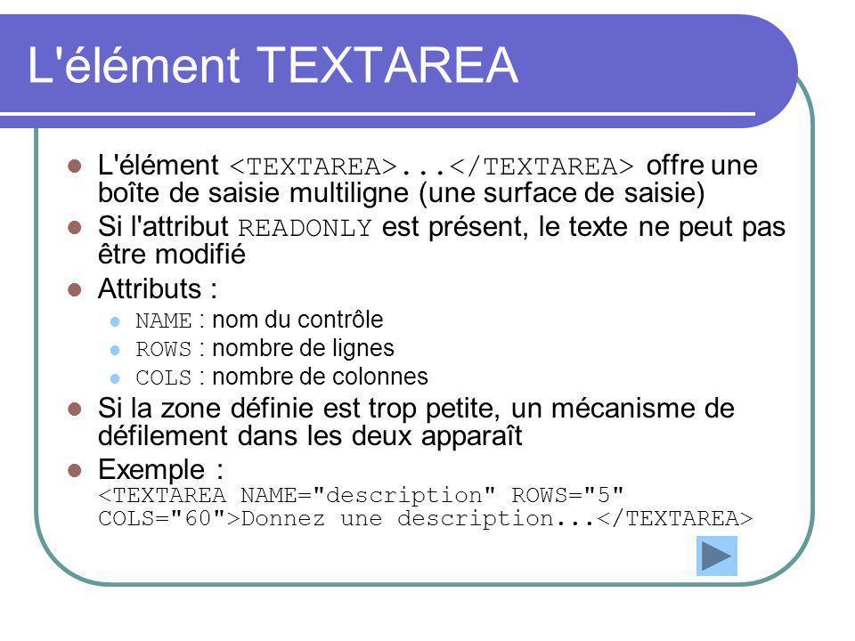 L'élément TEXTAREA L'élément... offre une boîte de saisie multiligne (une surface de saisie) Si l'attribut READONLY est présent, le texte ne peut pas