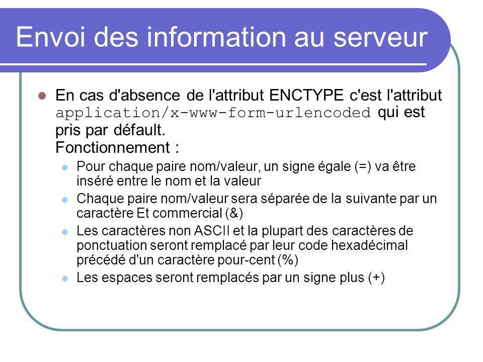 Envoi des information au serveur En cas d'absence de l'attribut ENCTYPE c'est l'attribut application/x-www-form-urlencoded qui est pris par défault. F