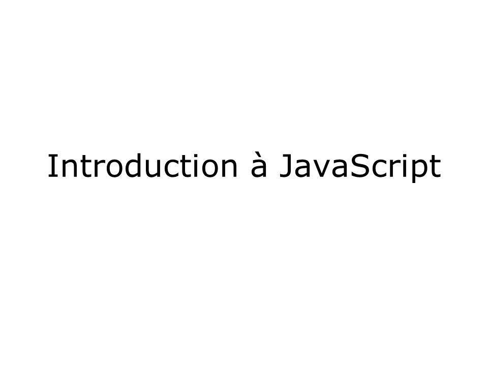 Introduction à JavaScript