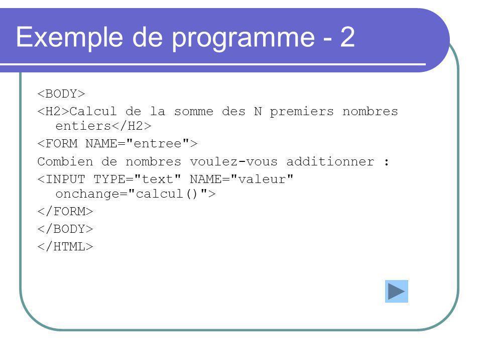Exemple de programme - 2 Calcul de la somme des N premiers nombres entiers Combien de nombres voulez-vous additionner :
