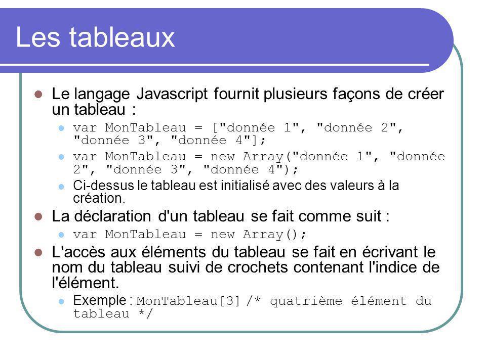 Les tableaux Le langage Javascript fournit plusieurs façons de créer un tableau : var MonTableau = [ donnée 1 , donnée 2 , donnée 3 , donnée 4 ]; var MonTableau = new Array( donnée 1 , donnée 2 , donnée 3 , donnée 4 ); Ci-dessus le tableau est initialisé avec des valeurs à la création.