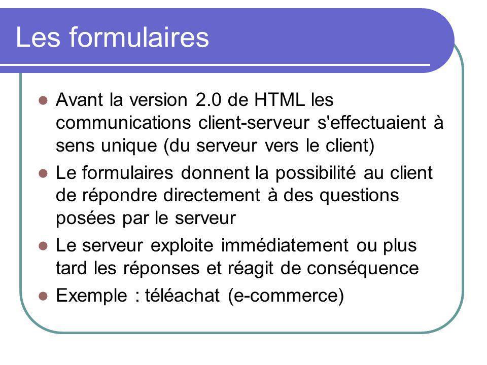 Les formulaires Avant la version 2.0 de HTML les communications client-serveur s'effectuaient à sens unique (du serveur vers le client) Le formulaires