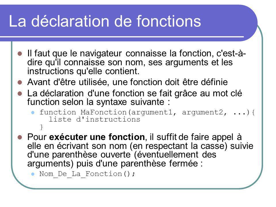 La déclaration de fonctions Il faut que le navigateur connaisse la fonction, c est-à- dire qu il connaisse son nom, ses arguments et les instructions qu elle contient.