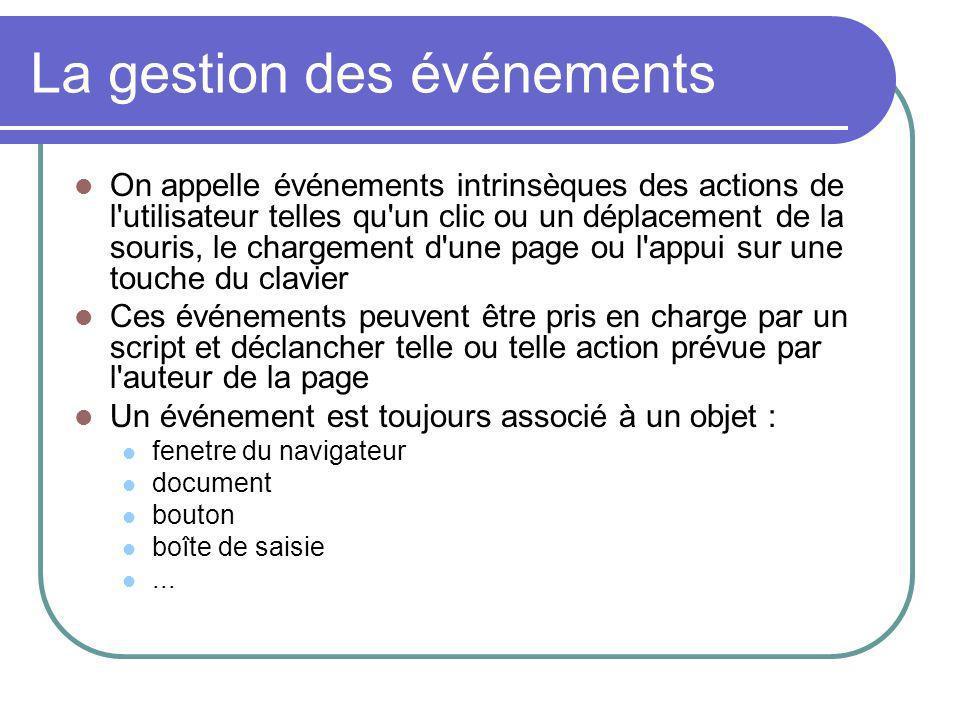 La gestion des événements On appelle événements intrinsèques des actions de l'utilisateur telles qu'un clic ou un déplacement de la souris, le chargem