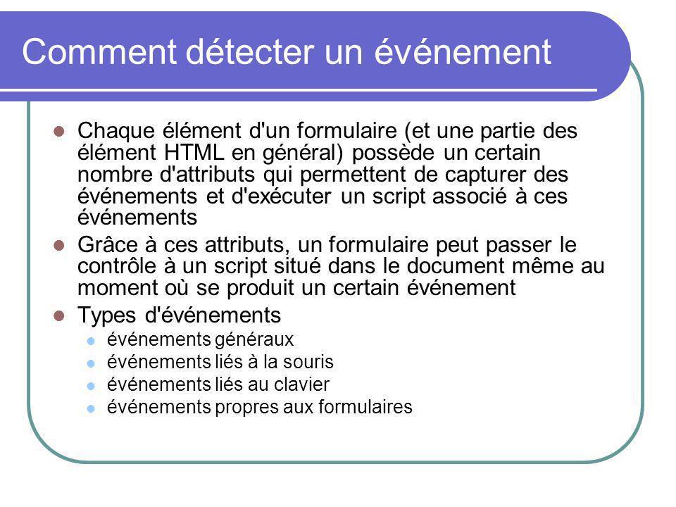 Comment détecter un événement Chaque élément d'un formulaire (et une partie des élément HTML en général) possède un certain nombre d'attributs qui per