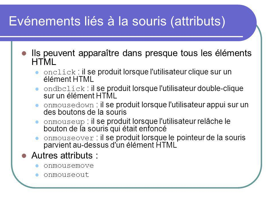 Evénements liés à la souris (attributs) Ils peuvent apparaître dans presque tous les éléments HTML onclick : il se produit lorsque l utilisateur clique sur un élément HTML ondbclick : il se produit lorsque l utilisateur double-clique sur un élément HTML onmousedown : il se produit lorsque l utilisateur appui sur un des boutons de la souris onmouseup : il se produit lorsque l utilisateur relâche le bouton de la souris qui était enfoncé onmouseover : il se produit lorsque le pointeur de la souris parvient au-dessus d un élément HTML Autres attributs : onmousemove onmouseout