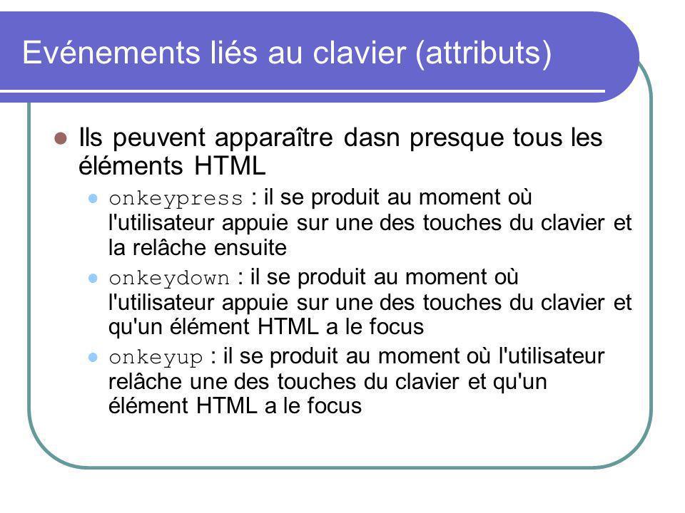 Evénements liés au clavier (attributs) Ils peuvent apparaître dasn presque tous les éléments HTML onkeypress : il se produit au moment où l utilisateur appuie sur une des touches du clavier et la relâche ensuite onkeydown : il se produit au moment où l utilisateur appuie sur une des touches du clavier et qu un élément HTML a le focus onkeyup : il se produit au moment où l utilisateur relâche une des touches du clavier et qu un élément HTML a le focus