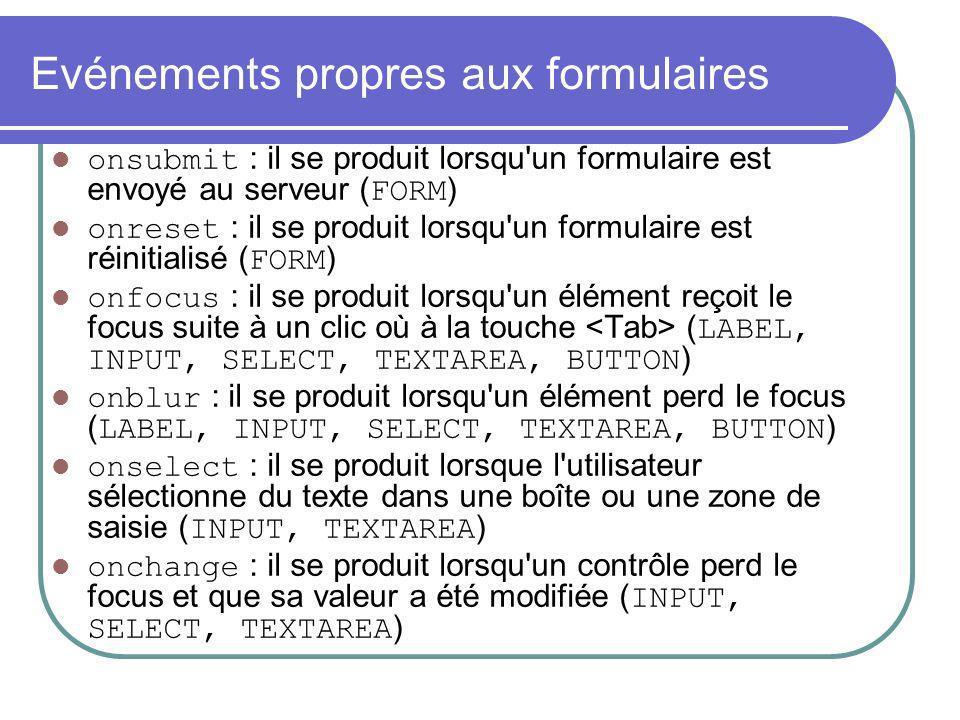 Evénements propres aux formulaires onsubmit : il se produit lorsqu'un formulaire est envoyé au serveur ( FORM ) onreset : il se produit lorsqu'un form