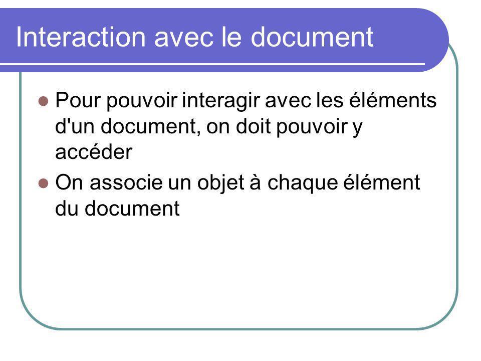 Interaction avec le document Pour pouvoir interagir avec les éléments d'un document, on doit pouvoir y accéder On associe un objet à chaque élément du