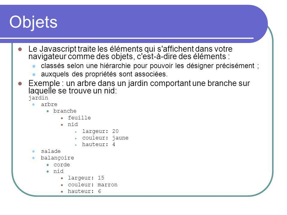 Objets Le Javascript traite les éléments qui s affichent dans votre navigateur comme des objets, c est-à-dire des éléments : classés selon une hiérarchie pour pouvoir les désigner précisément ; auxquels des propriétés sont associées.