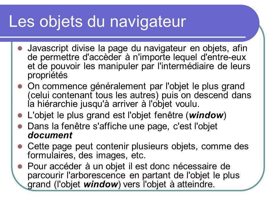 Les objets du navigateur Javascript divise la page du navigateur en objets, afin de permettre d'accèder à n'importe lequel d'entre-eux et de pouvoir l