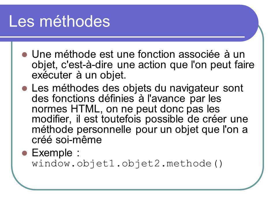 Les méthodes Une méthode est une fonction associée à un objet, c est-à-dire une action que l on peut faire exécuter à un objet.