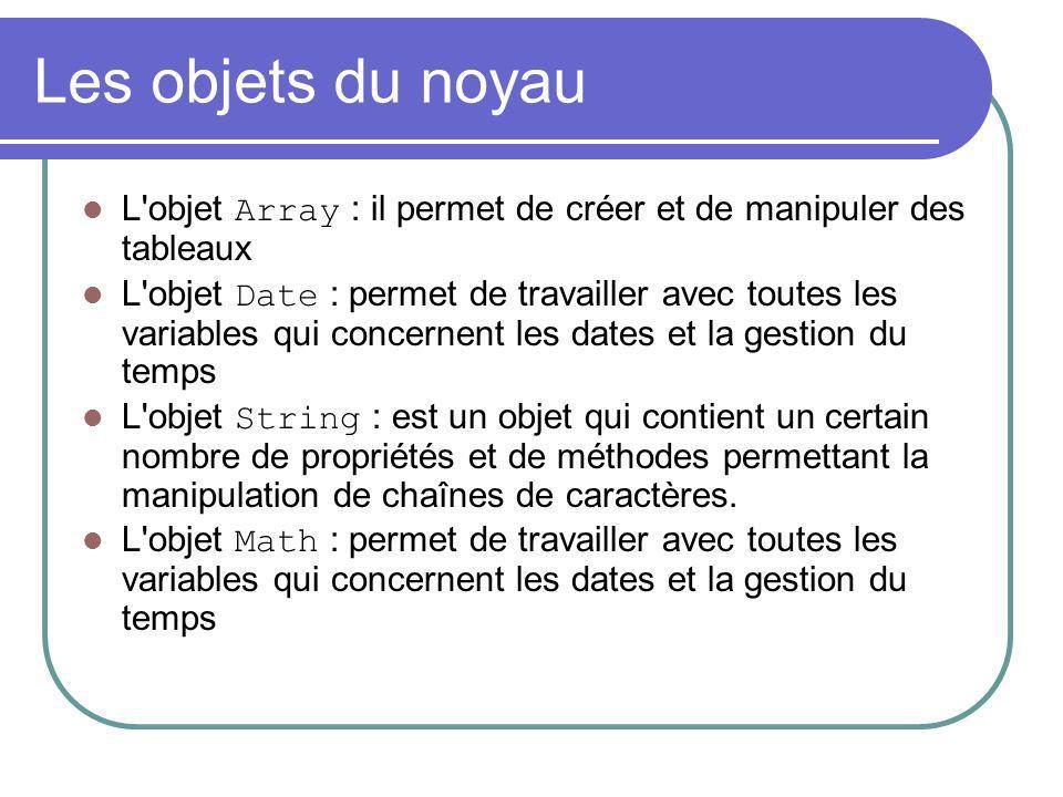 Les objets du noyau L'objet Array : il permet de créer et de manipuler des tableaux L'objet Date : permet de travailler avec toutes les variables qui