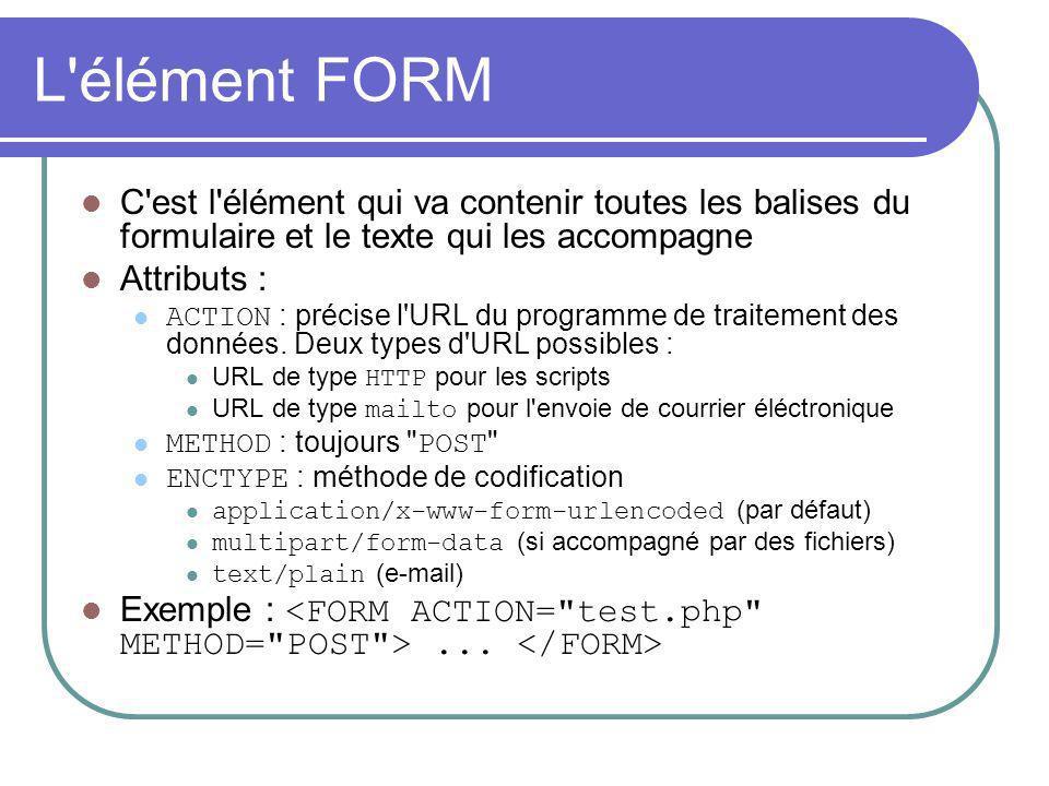 L élément INPUT C est la balise que l on trouve pour presque tous les éléments simples (boîte de saisie, case à cocher...) Attributs : TYPE : précise le type de contrôle utilisé pour un élément du formulaire NAME : précise un nom pour le contrôle VALUE : valeur associée au contrôle