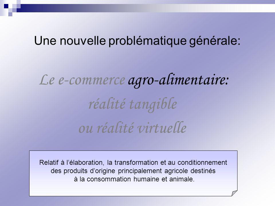 Le e-commerce agro-alimentaire: réalité tangible ou réalité virtuelle Une nouvelle problématique générale: Relatif à lélaboration, la transformation e