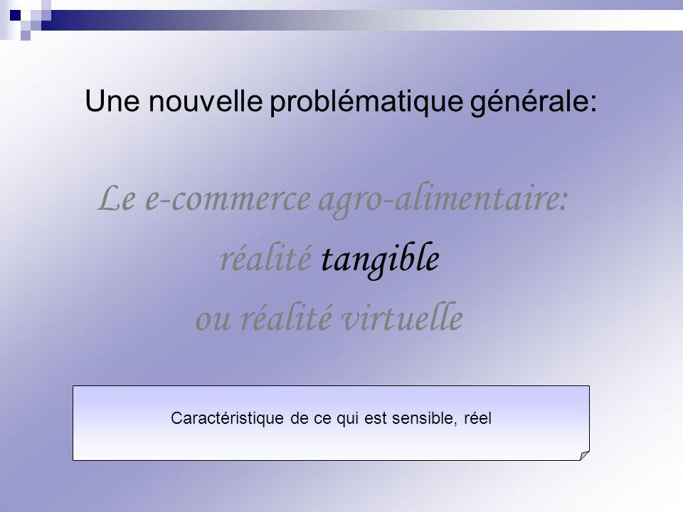 Le e-commerce agro-alimentaire: réalité tangible ou réalité virtuelle Une nouvelle problématique générale: Caractéristique de ce qui est sensible, rée