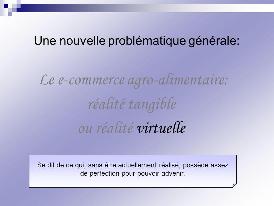 Le e-commerce agro-alimentaire: réalité tangible ou réalité virtuelle Une nouvelle problématique générale: Se dit de ce qui, sans être actuellement ré