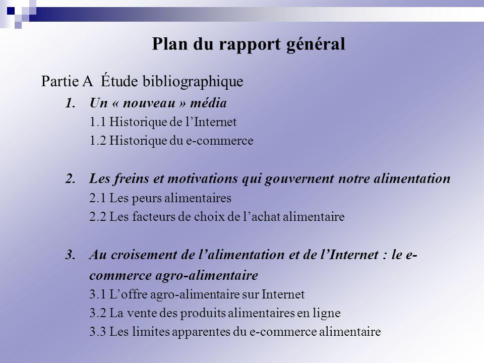 Plan du rapport général Partie A Étude bibliographique 1.Un « nouveau » média 1.1 Historique de lInternet 1.2 Historique du e-commerce 2.Les freins et