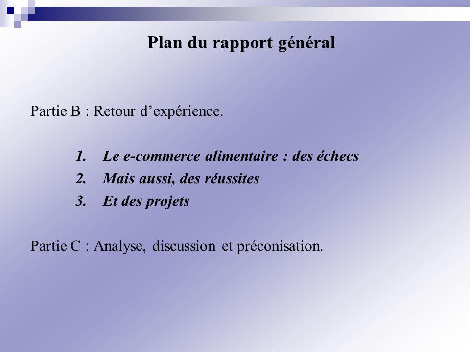 Partie B : Retour dexpérience. 1.Le e-commerce alimentaire : des échecs 2.Mais aussi, des réussites 3.Et des projets Partie C : Analyse, discussion et