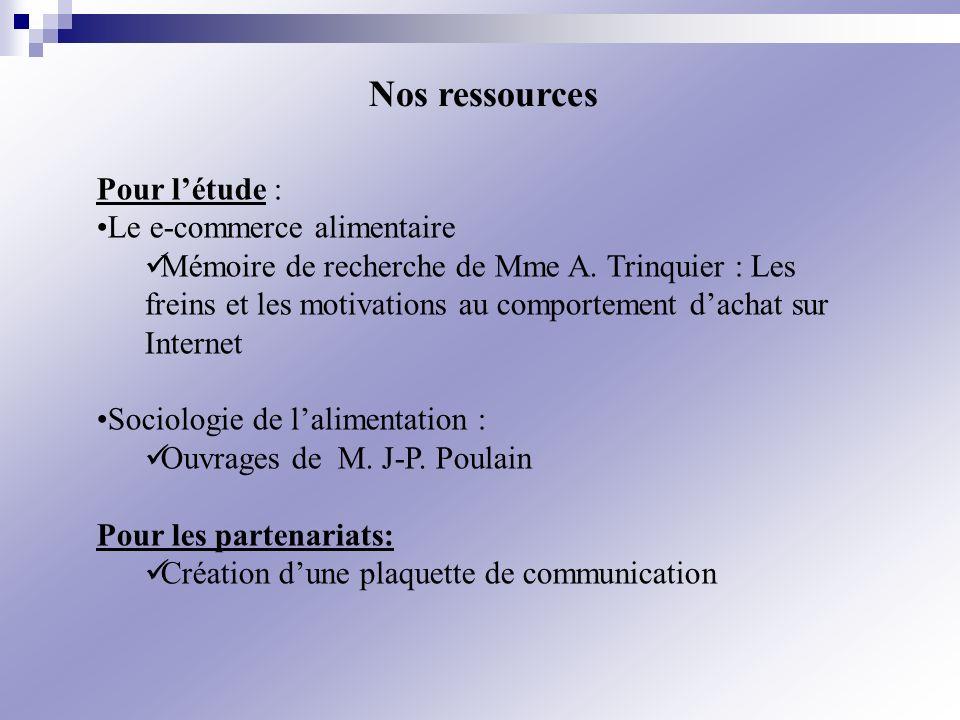 Pour létude : Le e-commerce alimentaire Mémoire de recherche de Mme A. Trinquier : Les freins et les motivations au comportement dachat sur Internet S