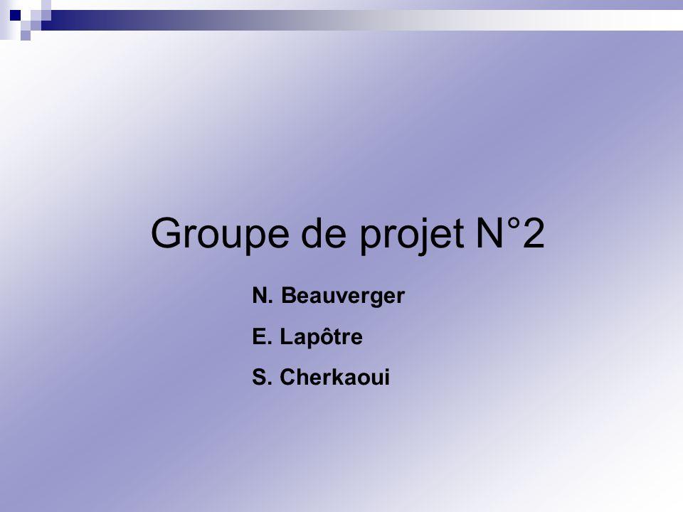 Groupe de projet N°2 N. Beauverger E. Lapôtre S. Cherkaoui