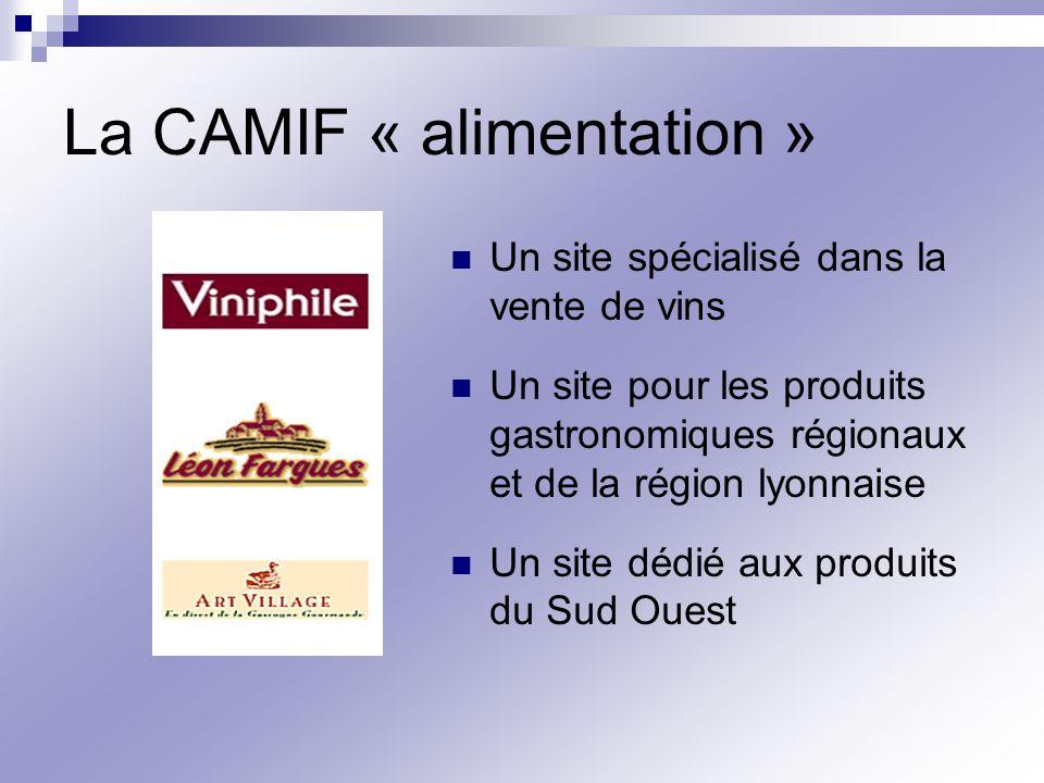 La CAMIF « alimentation » Un site spécialisé dans la vente de vins Un site pour les produits gastronomiques régionaux et de la région lyonnaise Un sit