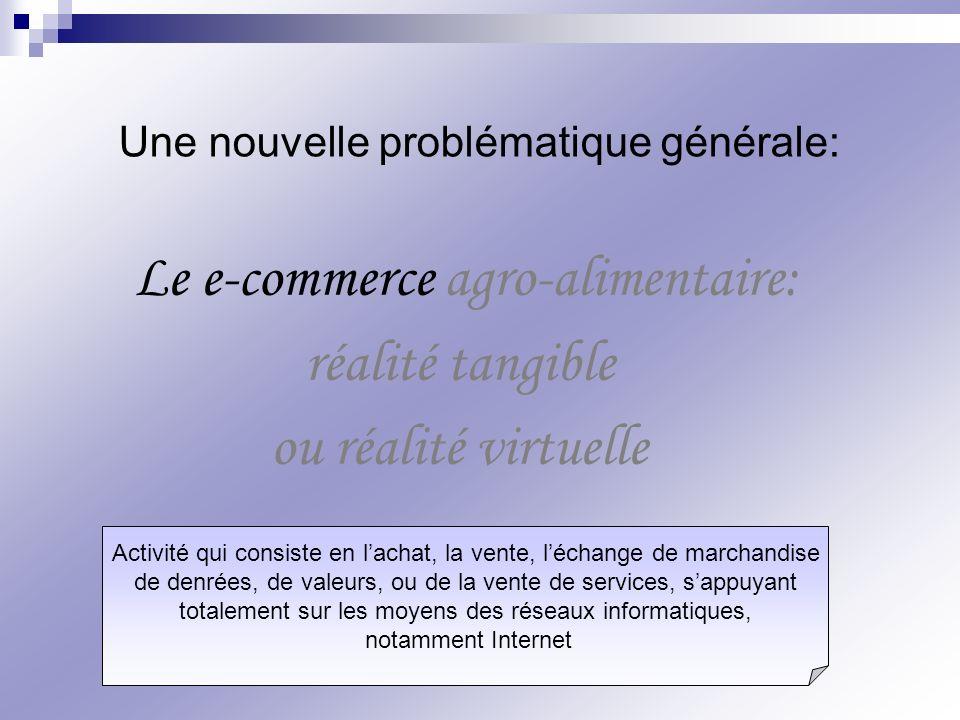 Le e-commerce agro-alimentaire: réalité tangible ou réalité virtuelle Une nouvelle problématique générale: Activité qui consiste en lachat, la vente,